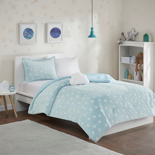 Blue & White Stars GLOW IN THE DARK Comforter Set AND Decorative Pillows (Quinny-Aqua)