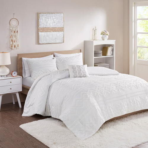 Ivory Jacquard Textured Comforter Set AND Decorative Pillow (Annie-Ivory)
