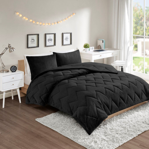 Solid Black Reversible Chevron Quilted Comforter AND Decorative Shams (Kai-Black)