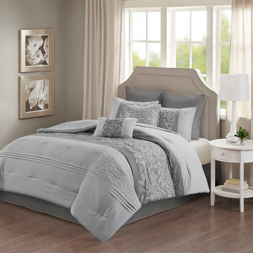 8pc Grey Embroidered Microfiber Comforter Set AND Decorative Pillows (Ramsey-Grey)