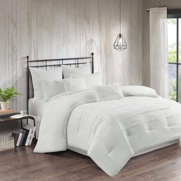 8pc White Textured Farmhouse Comforter Set AND Decorative Pillows (Jenda-White)