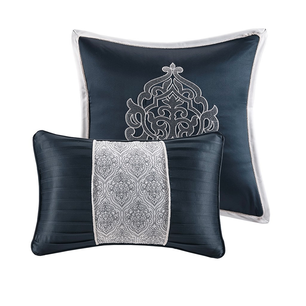 Navy Blue Textured Jacquard Comforter Set AND Decorative Pillows (Odette-Navy-comf)