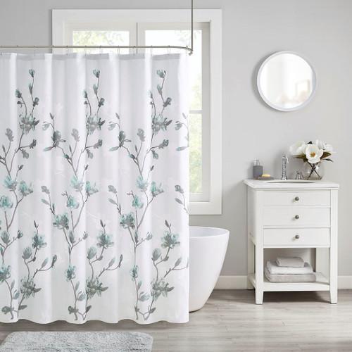 """Soft Aqua Grey & White Floral Burnout Fabric Shower Curtain - 72x72"""" (Magnolia-Aqua-Shower)"""