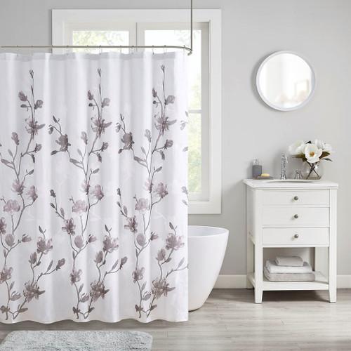 """Soft Purple Grey & White Floral Burnout Fabric Shower Curtain - 72x72"""" (Magnolia-Purple-Shower)"""