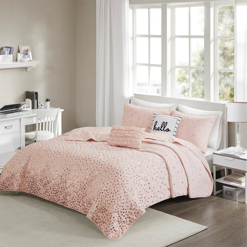 Blush Pink & Metallic Gold Reversible Coverlet Set AND Decorative Pillows (Zoey-Blush/Rosegold-cov)