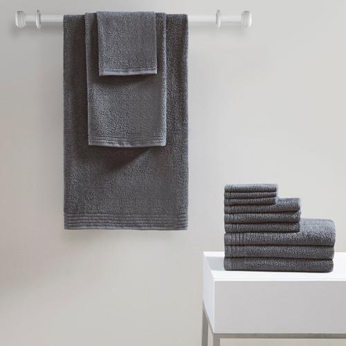 Grey 12pc Cotton Bath Towel Set - OEKO-TEX Certified