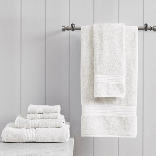 6pc White Organic Cotton Bath Towel Set - GOTS Certified - 650 GSM