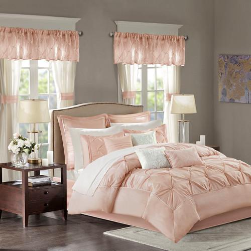 24pc Blush Pink Tufted Comforter Set, Sheets, Pillows, Curtains AND More (Joella-Blush)