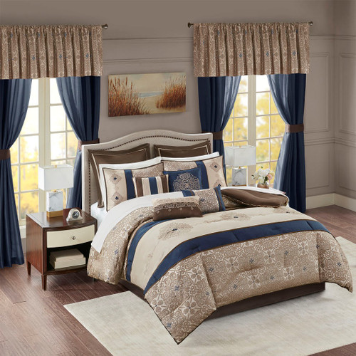 24pc Navy Blue & Brown Embroidered Comforter Set, Sheets, Pillows, Curtains AND More (Delaney-Navy)