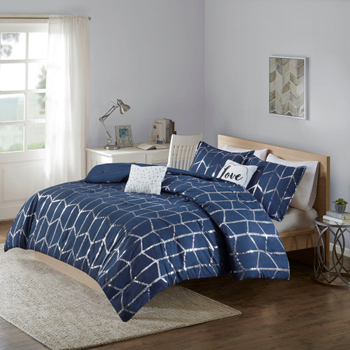 Navy Blue & Metallic Silver Geometric Comforter Set AND Decorative Pillows (Raina-Navy)
