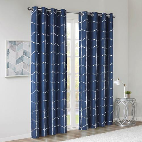 "Navy Blue Geometric Metallic Silver BLACKOUT Window Panel- 50x84"" (Raina-Navy-window)"