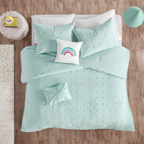 Aqua Blue Pom Poms & Rainbow Cotton Comforter Set AND Decorative Pillows (Callie Aqua-Comf)