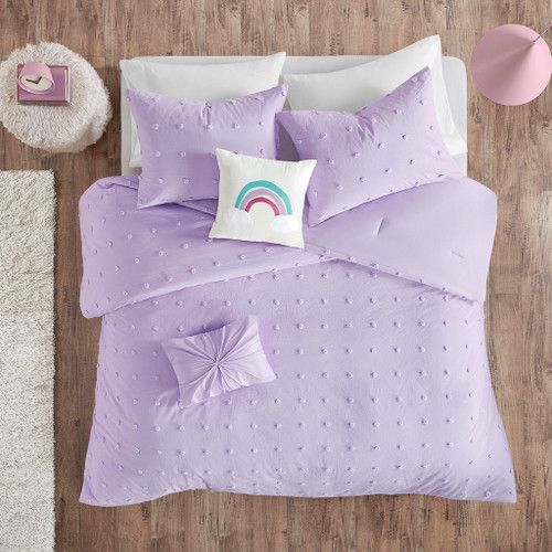Lavender Pom Poms & Rainbow Cotton Comforter Set AND Decorative Pillows (Callie Lavender-Comf)