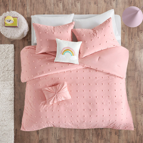 Blush Pink Pom Poms & Rainbow Cotton Comforter Set AND Decorative Pillows (Callie-Pink-Comf)
