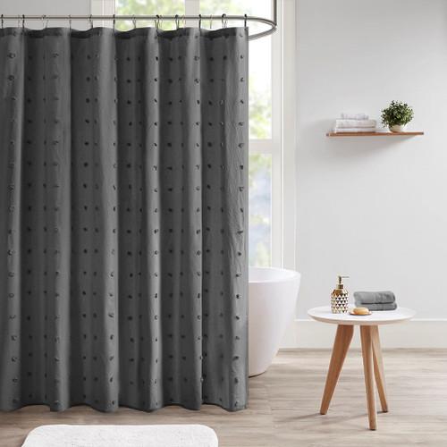 "Charcoal Grey Cotton Tufts Jacquard Pom Pom Fabric Shower Curtain - 70x72"" (Brooklyn -Charcoal-Shower)"