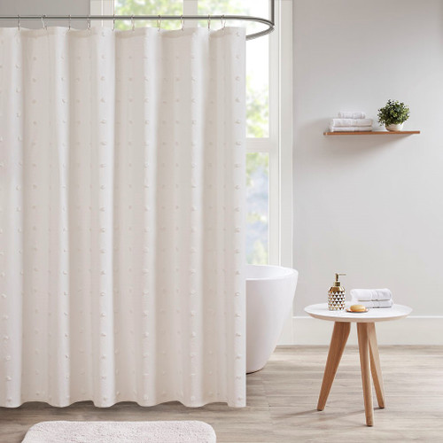 "Ivory on Ivory Cotton Tufts Jacquard Pom Pom Fabric Shower Curtain - 70x72"" (Brooklyn -Ivory-Shower)"