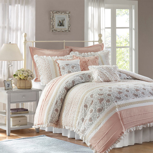 9pc Blush Cottage Chic Lace Comforter Set AND Decorative Pillows (Dawn-Blush)