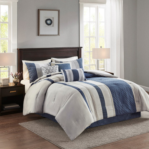 7pc Blue & Grey Faux Suede Comforter Set AND Decorative Pillows (Kennedy-Blue)