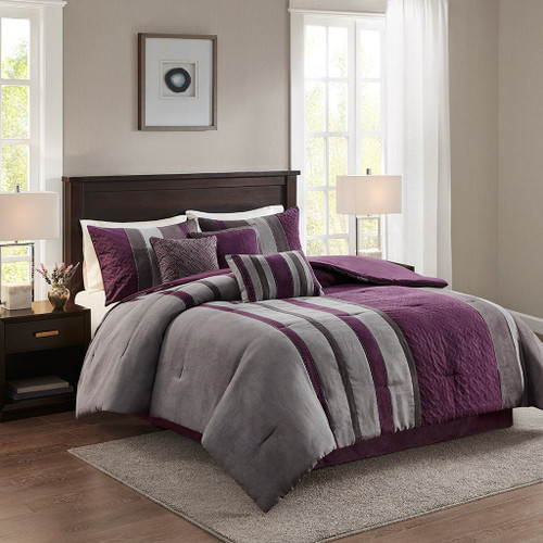 7pc Purple & Grey Faux Suede Comforter Set AND Decorative Pillows (Kennedy-Purple)