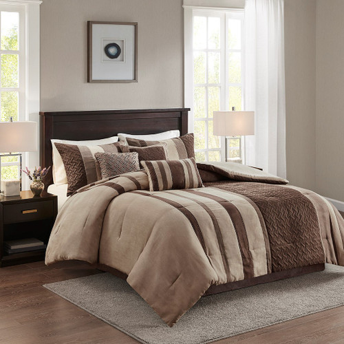 7pc Brown & Tan Faux Suede Comforter Set AND Decorative Pillows (Kennedy-Tan)