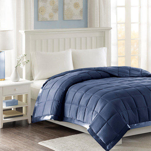 Year Round Navy Blue Microfiber Down Alternative Blanket w/3M Scotchgard (Windom-Navy)