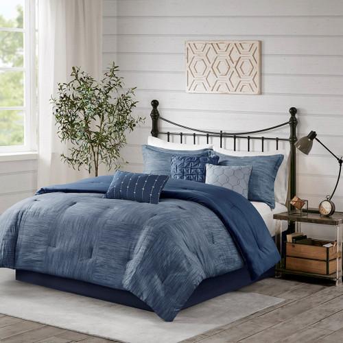 7pc Navy Blue Seersuckle Weave Design Comforter Set AND Decorative Pillows (Walter -Navy-Comf)