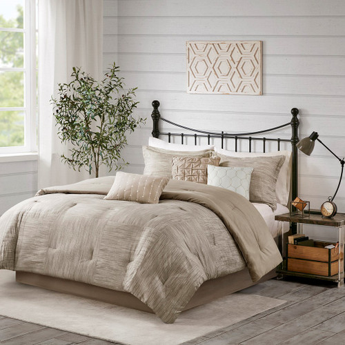 7pc Taupe Seersuckle Weave Design Comforter Set AND Decorative Pillows (Walter -Taupe-Comf)