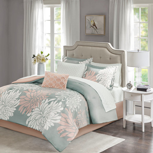 Blush Pink & Grey Floral Comforter Set AND Matching Sheet Set (Maible-Blush/Grey)