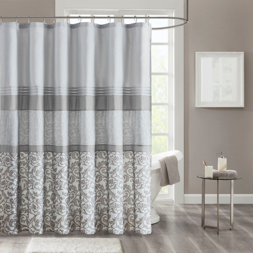 """Shades of Grey Embroidered Shower Curtain - 72x72"""" (Ramsey-Grey-Shower)"""