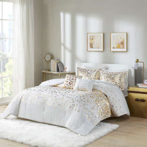 Ivory & Gold Metallic Animal Print Comforter Set AND Decorative Pillows (Lillie-Ivory/Gold-Comf)