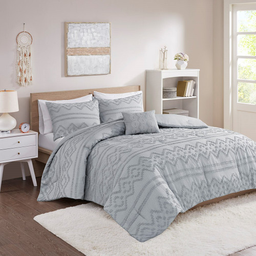 Grey Solid Clipped Jacquard Comforter Set AND Decorative Pillow (Annie-Grey-Comf)