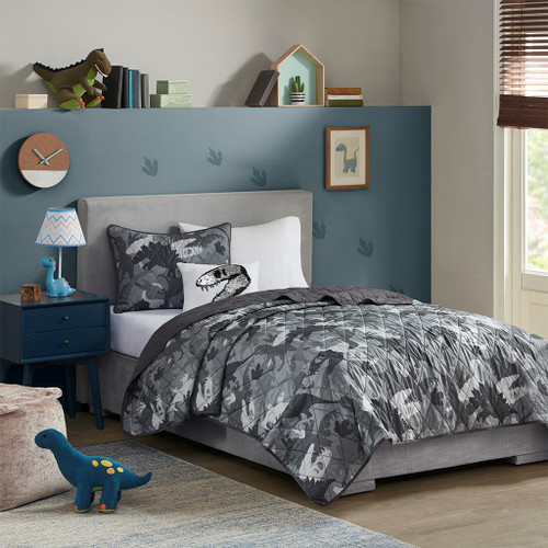 Grey Camo Dinosaur Reversible Coverlet Set AND Decorative Pillow (Dylan-Grey-cov)
