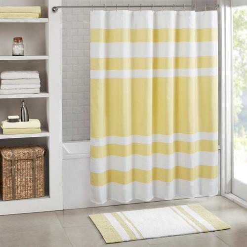 "Yellow & White Striped Waffle Weave Fabric Shower Curtain - 72"" x 72"" (Spa Waffle-Yellow-Shower)"