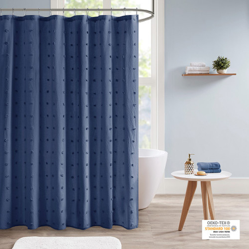"Indigo Blue Cotton Tufts Jacquard Pom Pom Fabric Shower Curtain - 70x72"" (Brooklyn -Indigo Blue-Shower)"