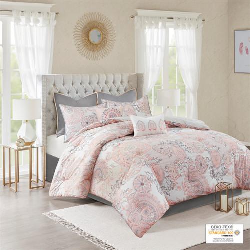 8pc Blush Pink Botanical Floral Cotton Comforter Set AND Decorative Pillows (Isla-Blush)