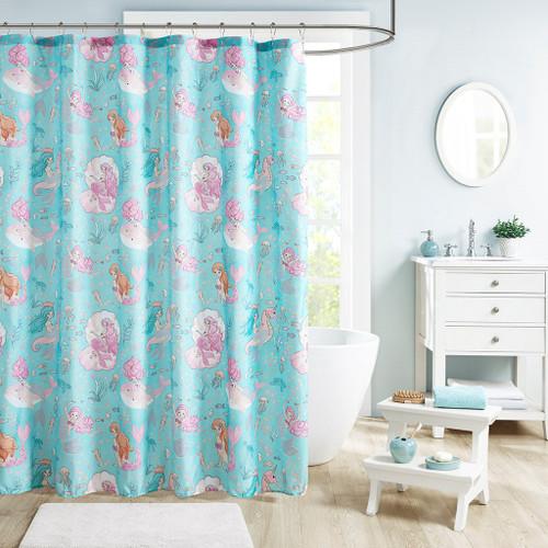 "Aqua Blue & Pink Mermaids Fabric Shower Curtain - 72x72"" (Darya-Aqua/Pink-shower)"