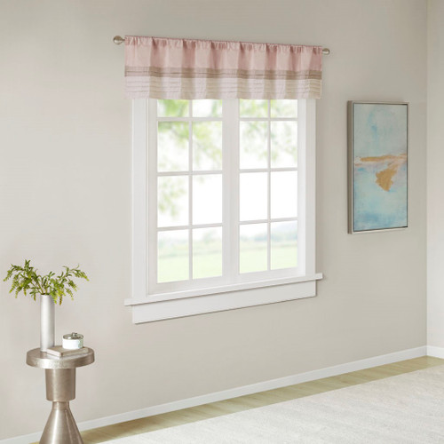 Blush Pink & Brown Pintucked Faux Silk Window Valance - Rod Pocket (Amherst-Blush-val)