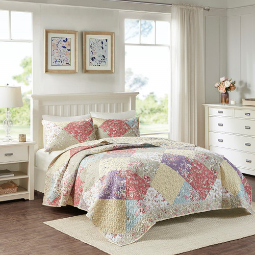 3pc Floral Cottage Patchwork Print Coverlet Quilt AND Decorative Shams (Brynn-Multi-cov)