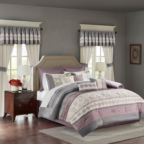 24pc Purple & Grey Embroidered Comforter Set, Sheets, Pillows, Curtains AND More (Jelena-Purple)