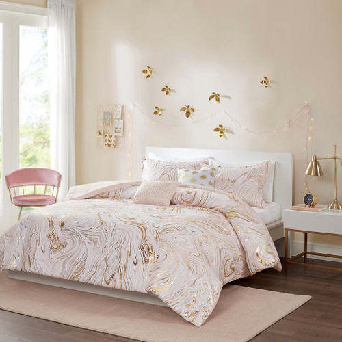 Blush Pink & Gold Metallic Swirls Comforter Set AND Decorative Pillows (Rebecca-Blush-Comf)
