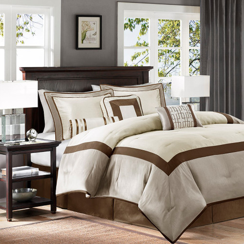 7pc Taupe & Brown Geometric Comforter Set AND Decorative Pillows (Genevieve-Taupe/Brown)