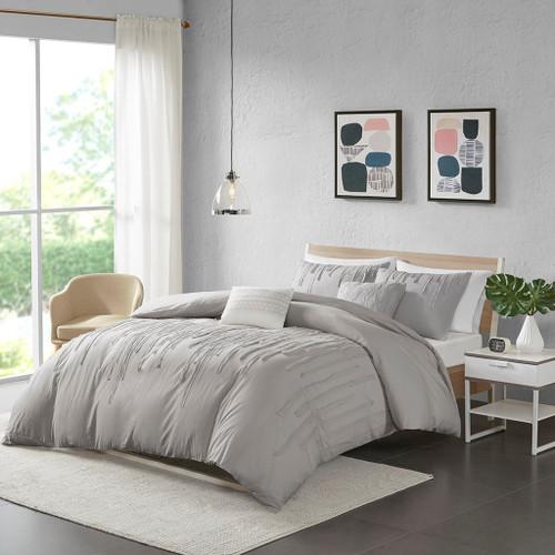 Grey Cotton Taping Strips Comforter Set Set AND Decorative Pillows (Paloma -Grey-comf)