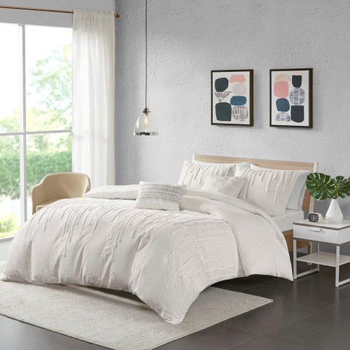 Ivory Cotton Taping Strips Comforter Set Set AND Decorative Pillows (Paloma -Ivory-comf)