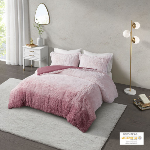 Blush Pink Ombre Shaggy Faux Fur Comforter AND Decorative Shams (Cleo -Blush-Comf)