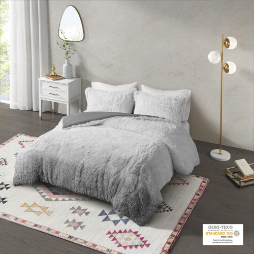 Grey Ombre Shaggy Faux Fur Comforter AND Decorative Shams (Cleo -Grey-Comf)
