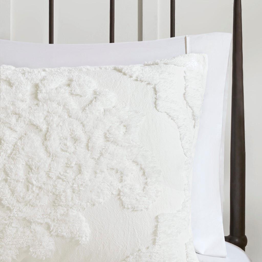 3pc White Tufted Cotton Chenille Damask Comforter AND Decorative Shams (Viola-White-comf)