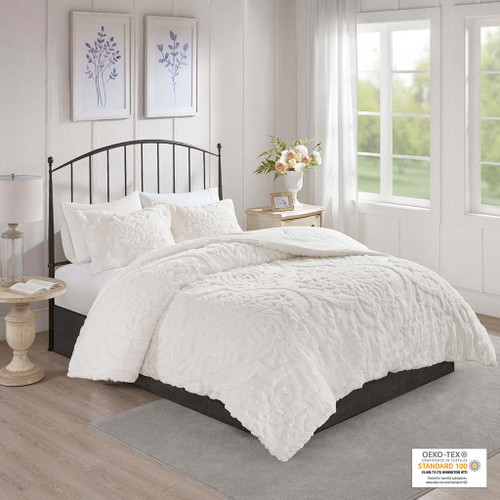 3pc White Tufted Cotton Chenille Damask Comforter AND Decorative Shams (Viola-White-comf)