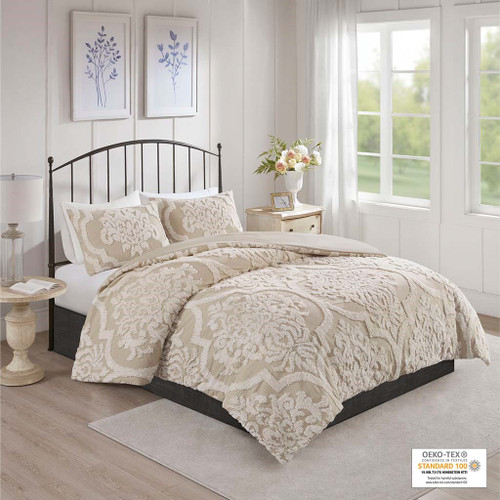 3pc Taupe Tufted Cotton Chenille Damask Comforter AND Decorative Shams (Viola-Taupe-comf)