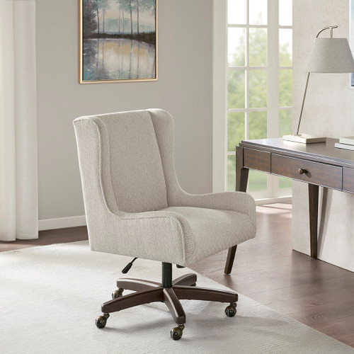 Upholstered Cream Wing Back Office Chair w/Swivel Base & Wheels (Gable-Cream-Chair)