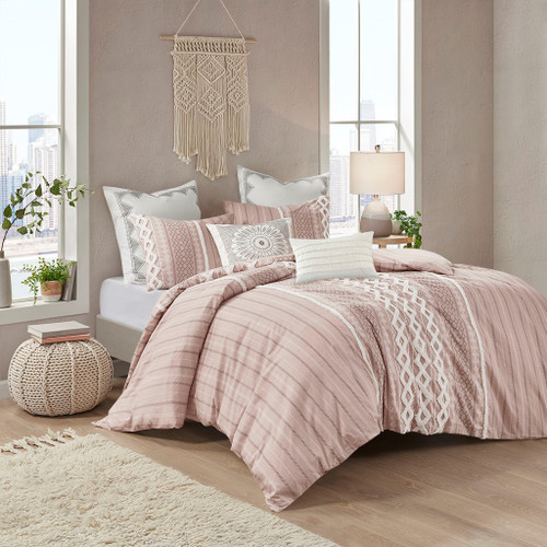 3pc Blush Pink Cotton Geometric Print Duvet Cover AND Decorative Shams (Imani-Blush-Duv)
